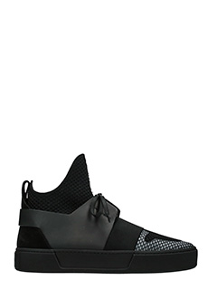Balenciaga-Sneakers High Trainers in pelle e tessuto nero