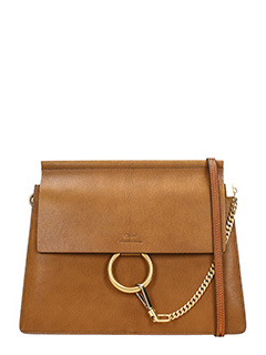 Chloé-Borsa Faye Media in pelle cuoio