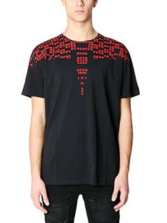 Marcelo Burlon-T-Shirt Rey in cotone nero rosso