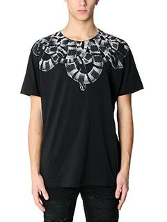 Marcelo Burlon-T-Shirt Leonardo in cotone nero bainco
