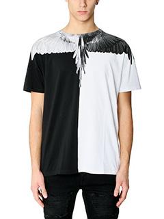 Marcelo Burlon-T-Shirt Naldo in cotone bianco nero rosso