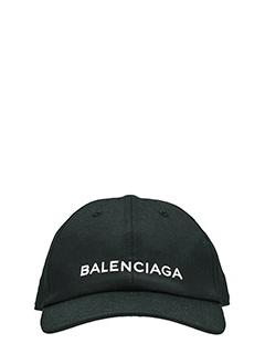 Balenciaga-Cappello Logo Balenciaga in cotone nero
