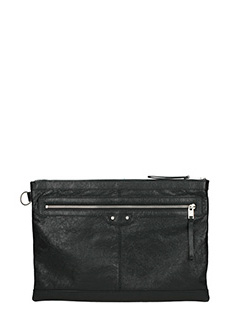 Balenciaga-Clip L black leather clutch
