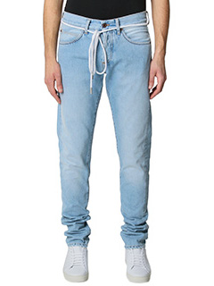 Off White-Jeans Diagonal Spray in denim azzurro