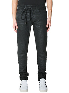 Off White-Jeans Diagonal Spray in denim nero