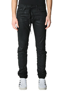 Off White-Jeans Diagonal Skinny in denim nero