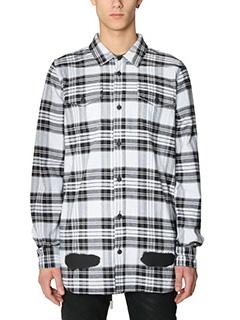 Off White-Camicia  Diagonal Spray in cotone bianco nero