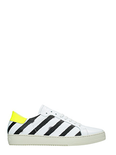 Off White-Sneakers Spray Diagonals in pelle bianca nera