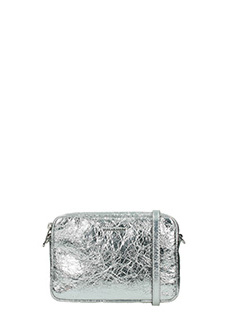 Michael Kors-Borsa Md Camera Crossbody in pelle argento