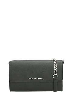 Michael Kors-Pochette Jet Set Travel Lg Phone Case in pelle saffiano nero