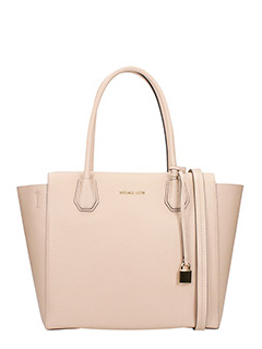 Michael Kors-Borsa Large Satchel in pelle cipria