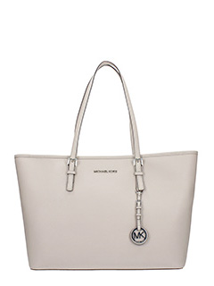Michael Kors-Borsa Jet Set Travel Md Tz Multi Tote in saffiano beige