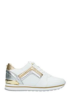 Michael Kors-Sneakers Conrad Trainer  in pelle bianca argento oro-lacci