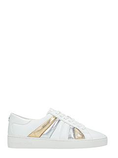 Michael Kors-Sneakers Conrad in pelle bianca oro argento