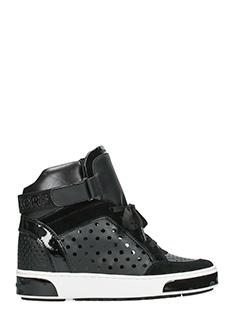 Michael Kors-Sneakers Pia High Top in pelle nera traforata