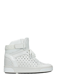 Michael Kors-Sneakers Pia High Top in pelle bianca traforata