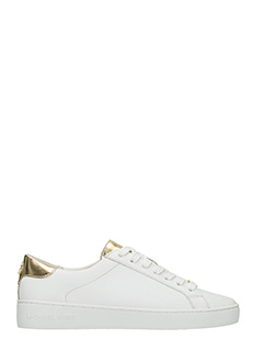 Michael Kors-Sneakers Irving Lace Up in pelle bianca oro