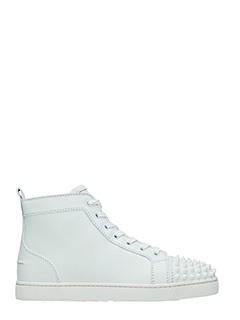 Christian Louboutin-Sneakers Louis Spikes in pelle bianca