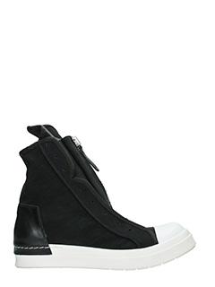 Cinzia Araia-Sneakers Skin 2 Zip high  in camoscio e pelle nera