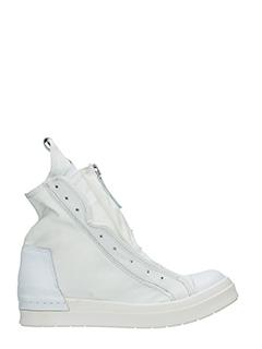 Cinzia Araia-Sneakers Skin 2 Zip high  in camoscio e pelle bianca