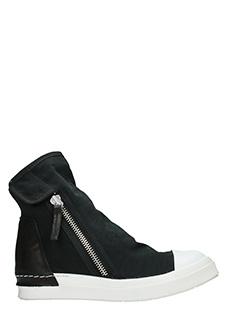 Cinzia Araia-Sneakers Skin 2 Zip  in camoscio e pelle nera