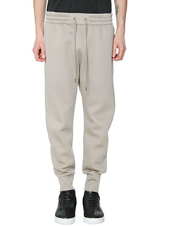 Helmut Lang-Pantaloni Curved Leg Track in cotone beige
