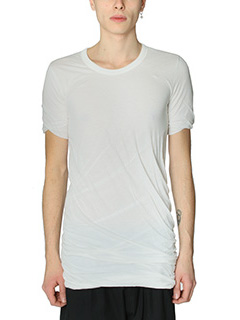 Rick Owens-T-Shirt Double Short in cotone bianco