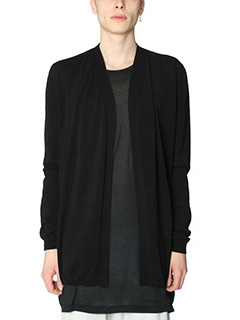 Rick Owens-Short Cardigan in cotone nero