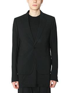 Rick Owens-Blazer Short Soft in lana nera
