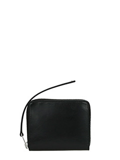 Rick Owens-Portafoglio Zipped Wallet Small in pelle nera