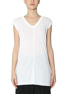 Rick Owens-V neck sleevele white cotton topwear