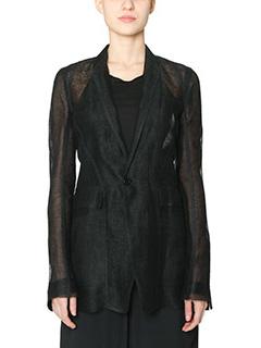 Rick Owens-Faun blazer black cotton and linen outerwear
