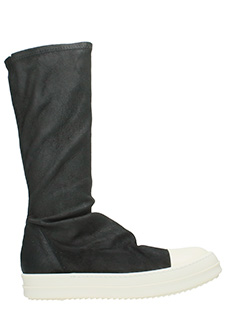Rick Owens-Sneakers Sock in pelle nera