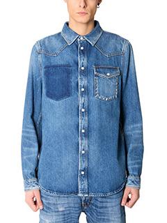 Valentino-Camicia in denim azzurro