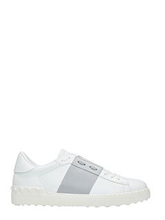 Valentino-Sneakers Low Stripe in pelle bianca grigia
