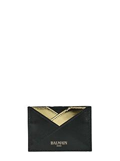 Balmain-Portacarte Geo Logo in pelle nera oro