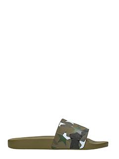 Valentino-Slides in gomma camouflage verde