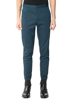 Lanvin-Pantaloni pence in cotone petrolio
