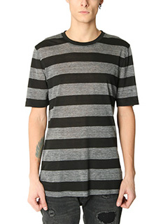 Helmut Lang-T-Shirt Standard Fit Stripe in cotone nero grigio