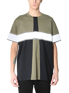 Givenchy-T-Shirt Over in cotone nero bianco khaky
