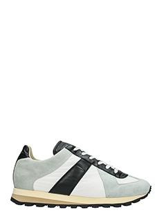 Maison Margiela-Sneakers Running in tessuto e camoscio grigio bianco nero-lacci