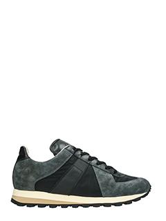 Maison Margiela-Sneakers Running in tessuto e camoscio nero grigio-lacci
