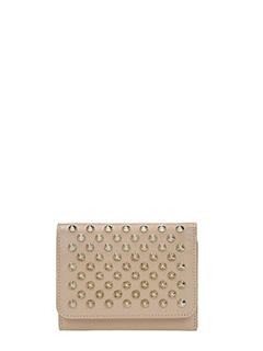 Christian Louboutin-Portafoglio Macaron Minil Wallet in pelle taupe