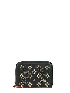 Christian Louboutin-Panettone  black leather wallet