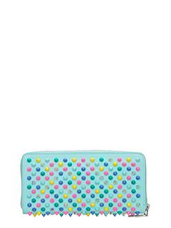Christian Louboutin-Portafoglio Panettone Zipped  Wallet in pelle verde acqua
