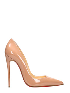 Christian Louboutin-So Kate 120 beige patent leather pumps
