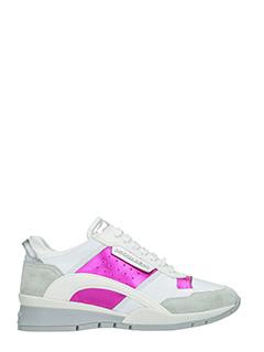 Dsquared 2-Sneakers Kit in pelle e sude bianco fucsia