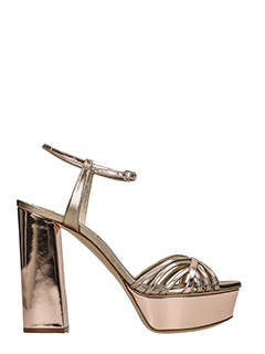 Casadei-bronze leather sandals