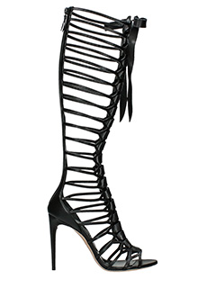 Casadei-Cage boots black leather boots