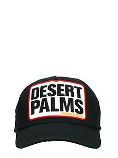 Dsquared 2-Cappello Desert Palms in cotone nero